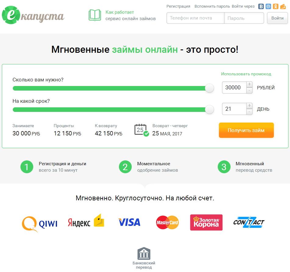 сайт микрофинансовой организации