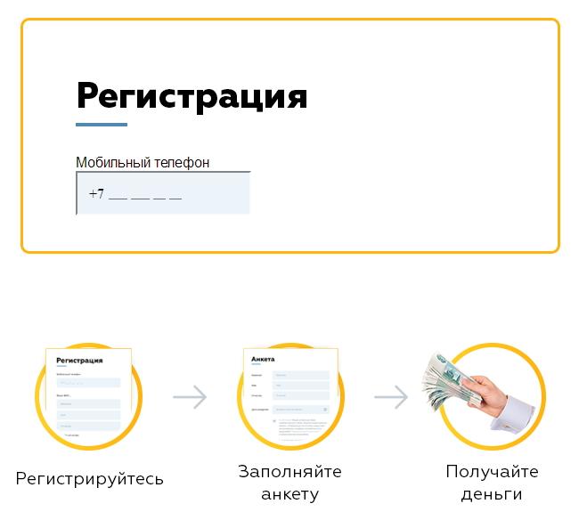 регистрация в кредитном сервисе